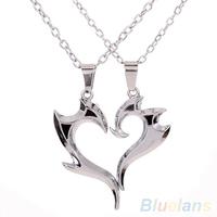 Men Women Lover Couple Heart Magic Wand Pendant Silver Alloy Chain Necklace