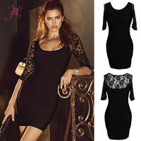 2014 New Women Sexy Vestidos Top Rated Half Floral Sleeved Black Bandage Dress Elegant Mini Dress
