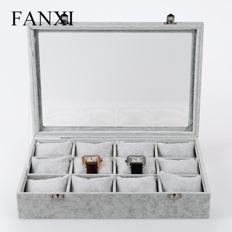 Ice velvet luxury watches storage box 12 watch display cassette lid skylights(China (Mainland))