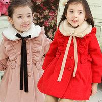 Free Shipping Girls Outerwear Coats New 2014 Children Fashion Woolen Trench Kids Winter FJacket Thick Warm Cotton Coat