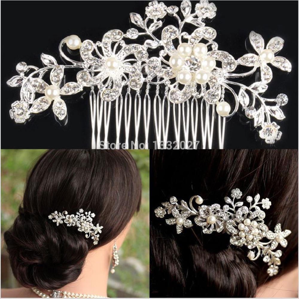 Women Girls Bridal Wedding Silver Crystal Rhinestone Diamante Flower Hair Clip Comb Pin Apparel Accessories Headwear Hair Combs(China (Mainland))