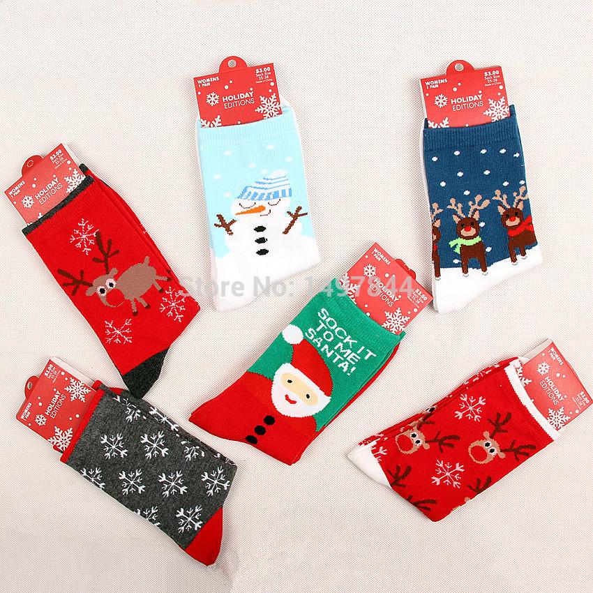 new year gift high quality 5 pairs/box cotton women female socks Christmas sock gift girls socks(China (Mainland))