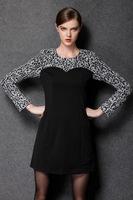 2015 brand spring antumn fashion women Elegant silm flower printing o neck long sleeve work dress formal dress plus size L-4XL