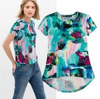 2015 European Style Women T-shirt Short Sleeve Dovetail Graffiti O-neck Summer Shirt Famous Brand Tops Blouse CL2256