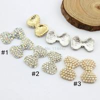 Free shipping 60pcs 30X19mm  Pearl Rhinestones alloy button DIY hair rhinestone embellishment  Wedding Party DIY decoration