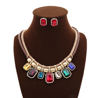 2014 Fashion jewelry set for women flower necklacle earrings set