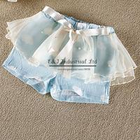 New Design Girls Shorts Cotton Chiffon With Pearl Top Grade Kids Short Children Wear PT41120-21^^EI