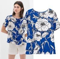 2015 European Style Women T-shirt Short Sleeve Blue Patchwork Chiffon Flower O-neck Summer Shirt Famous Brand Tops Blouse CL2259