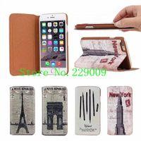 Eiffel Tower Flip phone holster grade leather Phone Case La caja del telefono Cas de telephone for iphone6 iphone6 plus iphone5