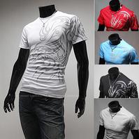 Men Boys Casual Slim Fit Dragon Tattoo short Sleeve T-Shirt O- Neck Shirt Top camisetas
