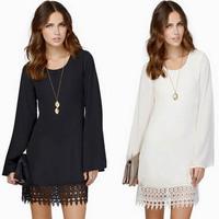 Fashion plus size white lace dress hem stitching full sleeve Summer Autumn loose chiffon long sleeve sexy casual dress