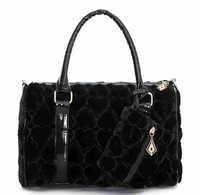 ree Shipping Fashion Cute Heart Handbags Chic Hairy Winter Women Shouder Bucket Bags