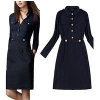 H6823 Explosion Models Autumn 2014 New Turn Down Collar Pocket Epaulet Slim Dress  Free Shipping