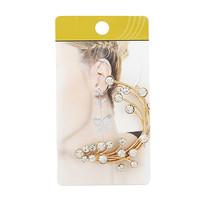2015 New brincos Vintage Women Crystal Rhinestone Clip Earrings Gold Ear Cuff Earrings