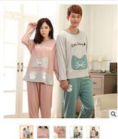 2SETS Autumn long-sleeve cartoon big cat pocket casual men and women sleepwear lounge pure cotton lovers full set