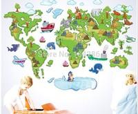 Green World Map Cartoon Wall Sticker Kid's Room Decorations Animal World Map Wall Decal 60*90cm Free Shipping