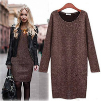 Fashion 2014 European & American Style Casual Winter Dress Polyester Solid O-Neck Thick Plus Women Autumn & Winter Dress Warm