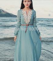 Women ladies Dress spring autumn fasional clothes , retail Woman lady Dresses beach v-collor clothing Bohemian style