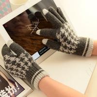Winter Touchscreen Gloves Cute Plush Warm Sensing Gloves Two-piece Set Gloves
