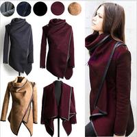 Fashion 2014 Winter Coat Woemn Female Warm Woollen Long Sleeve Overcoat Fashion Trench Wool Coats Slim Full Pockets Solid Jacket