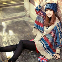 Newest casual Women's Wool Cape Poncho Knit Top Cardigan kimono sweater coat striped batwing loose pullovers for women