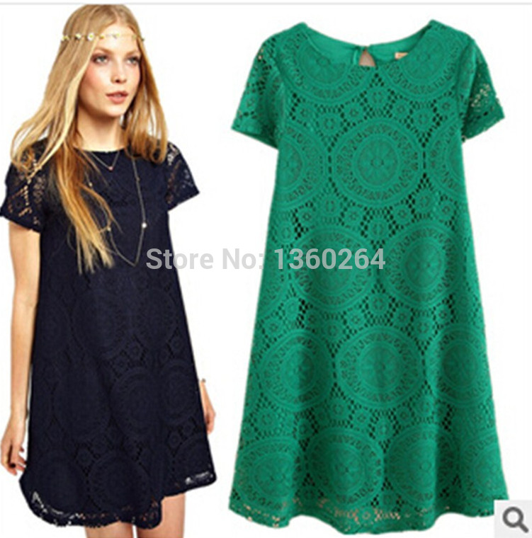 New Fashion Chiffon Lace Dree Womens Summer 2014 Sexy Backless Hollow Out Crochet Short Sleeve Dresses Ladies 5 Colors S-XL(China (Mainland))