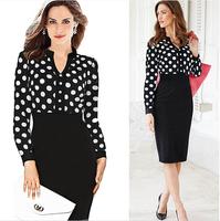 Hot Sale New Women Casual Dress OL Slim Long Sleeve Elegant Party Vintage Polka Dot Print Dresses