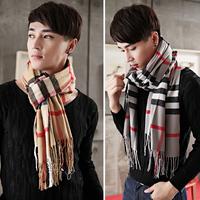 Fashion scarf female male scarf plaid thickening thermal lovers yarn male muffler scarf cape