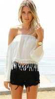 free shipping!2015chiffon womens off shoulder top casual women's new tassel strapless shirt chiffon blouse