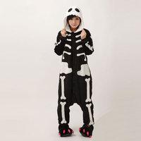 Skeleton Unisex Adult Flannel Pajamas Adults Cosplay Cartoon Cute Animal Onesies Sleepwear Suit Nightclothes Skeleton