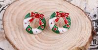 Drop Shipping   Unique   Design Christmas Wreath Earring Charm Wreath Pendant Stud Earrings