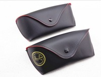 2014   brand PU leather sunglasses  case box with cloth eyewear packing eyeglasses  accessories