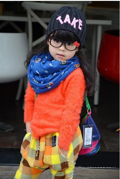 free shipping5pcs/lotChildren's clothing wholesale 2014 Korean version of Hitz wild cartoon children's paternity paragraph scarf(China (Mainland))