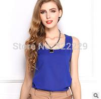 XL XXL XXXL 2015 European and American women's candy-colored chiffon vest sleeveless chiffon shirt solid color sleeveless vest