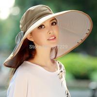 Free Shipping Women Girl High Quality Wide Brim Sun Hat UV Folding Large Brim Hat 17cm Brim Double-side Cap