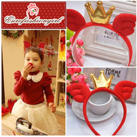 Merry Christmas Girl Angel Wings Hairbands With Crown Baby Festival Red Hairwear Free Shipping
