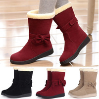 2014 new winter snow boots women flat shoes short medium-leg bow tassel thickening thermal cotton boots,size euro34-39