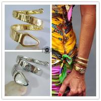 New High Grade Anna Dello Russo Snake Bracelet Titanium Gold White Shell Winding Snake Bracelet 3 Color