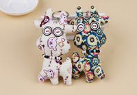 Color Random  fashion hot  DIY  CUTE Cloth Sheep shaped Toys Button Doll  Keychain