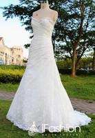 100% Real Photos Elegant sweetheart zipper back A-Line wedding dress featuring allover lace skirt  2014 dd16