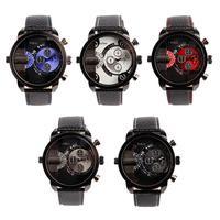 New Men's Oulm Sport Dual Time Zone Black Leather Band Quartz Analog Wrist Watch