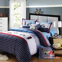 Child bedding home textile male child car cotton embroidered 100% four piece set cartoon bedding