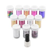 12pcs/set Hot Beauty Adhesive Nail Polish Wrap Nail Art Transfer Foils Sticker Nail Tips Decorations Accessories +Glue Set