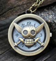 Vintage Bronze classic Pirates of the Caribbean imp Steampunk Quartz Necklace Pendant Chain Clock Pocket Watch children gift