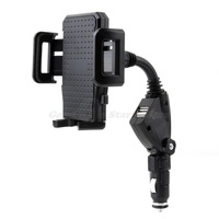 1Pcs Dual USB 2-Port Car Charger Cell Phone Mount Holder for Mobile Phones for GPS Drop Shipping