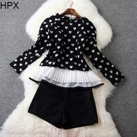 Women Woolen Black Heart Ruffles Tops + Shorts Two pieces Clothing Set,Ladies Brand Twinset 2014 Autumn Winter New European
