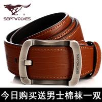Septwolves pin buckle men belt leather belt Korean genuine leather fashion business casual belt