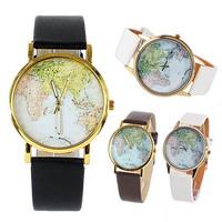 New Women's Geneva Globe World Map Print Dial Round Gold Tone Case Fashion Watch