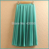 New women's pure color chiffon pleated elegant bust skirt Female Bohemia beach skirt