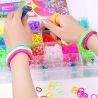 1Set 4200Pcs Colourful Rubber Bands DIY Bracelet Making Kit & Case For Kids High Quality